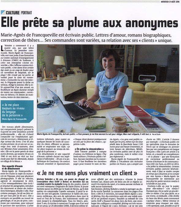 Marie-Agnès de Franqueville à l'honneur dans L'Union en Champagne